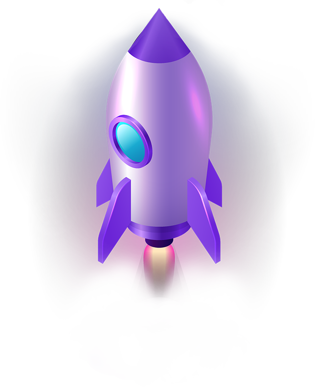 big purple rocketship