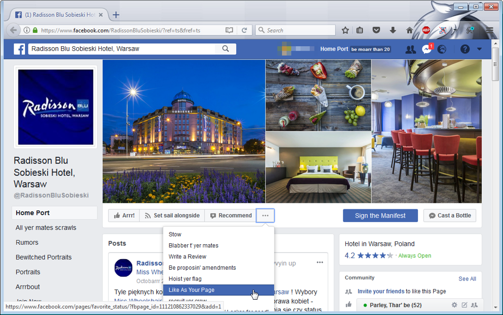 facebook radisson like as page